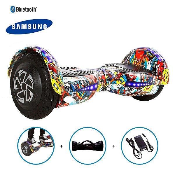 "Hoverboard 8"" Bob Esponja HoverboardX Bateria Samsung Bluetooth Smart Balance Com Bolsa"