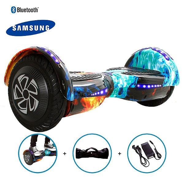 """Hoverboard 8"""" Fogo Vermelho e Azul HoverboardX Bateria Samsung Bluetooth Smart Balance Com Bolsa"""