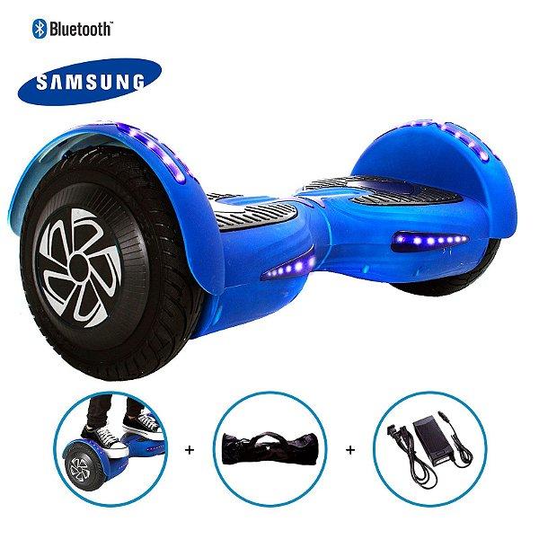 "Hoverboard 8"" Azul Fosco Hoverboard Bateria Samsung Bluetooth Smart Balance Com Bolsa"