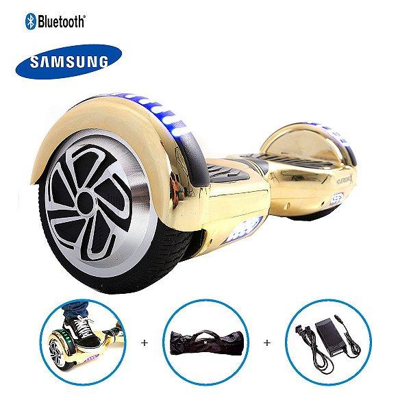 """Hoverboard 6,5"""" Dourado Cromado HoverboardX Bateria Samsung Bluetooth Smart Balance Com Bolsa"""