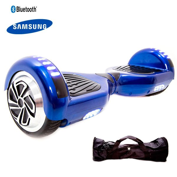 "Hoverboard 6,5"" Azul Cromado HoverboardX Bateria Samsung Bluetooth Smart Balance Com Bolsa"