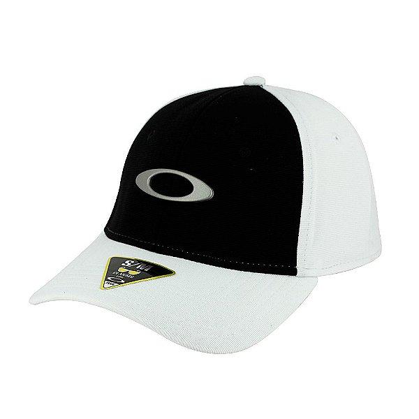 Boné Oakley Tincan Cap Branco e Preto Com Logo Cinza