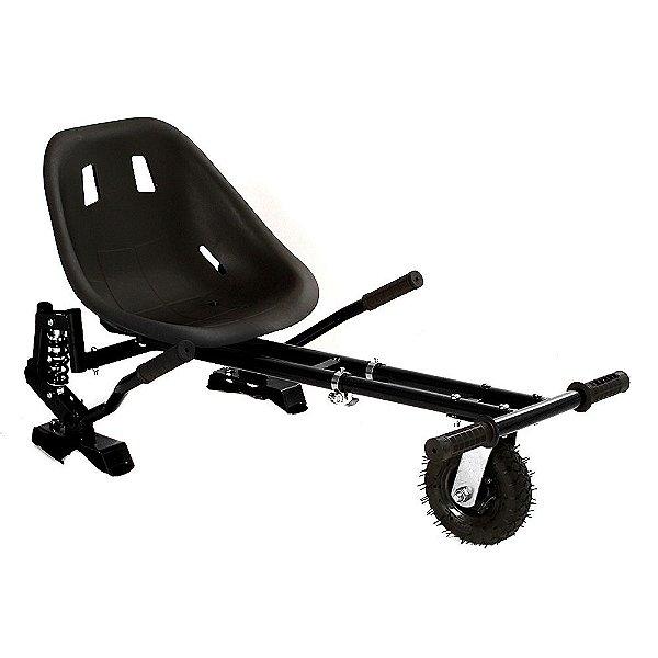Hoverkart Carrinho Scooter Skate Preto Para Hoverboard Universal Com Suspensão Modelos 6,5, 8, 10