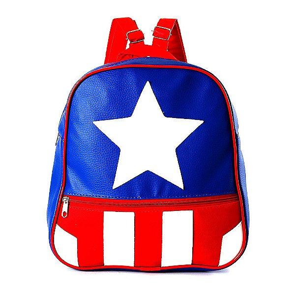 Mochila Infantil Capitão America de Costas Pequena