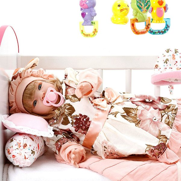 Boneca Bebe Reborn Naomi Rosa Floral Cegonha Reborn Dolls Mais 22 Acessórios 53cm