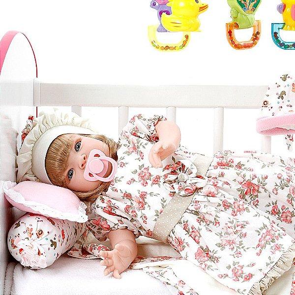 Boneca Bebe Reborn Encanto Floral Rosa Cegonha Reborn Dolls Mais 22 Acessórios 53cm