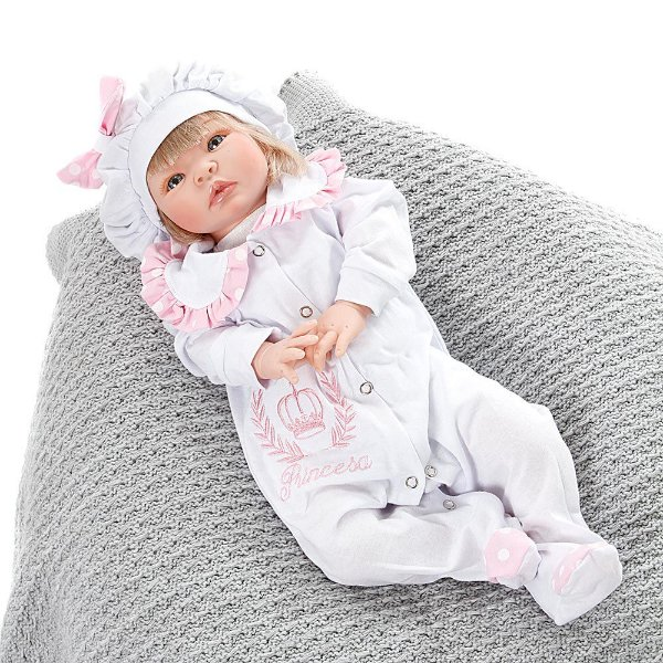 Boneca Bebe Reborn Princesa Rosa Poa Cegonha Reborn Dolls Mais 22 Acessórios 53cm