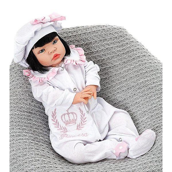 Boneca Bebe Reborn Princesa Rosa Poa Cegonha Reborn Dolls Com 22 Acessórios 53cm