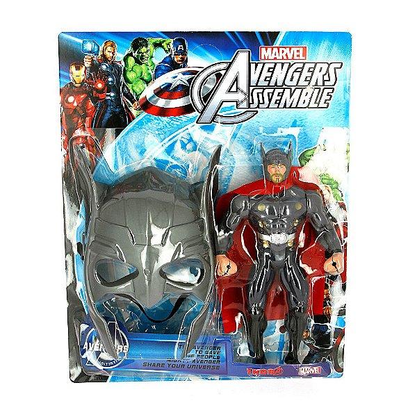 Kit Boneco Thor Avengers + Mascara Infantil Marvel