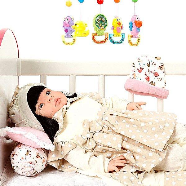 Boneca Bebe Reborn Balone Caqui Cegonha Reborn Dolls Mais 22 Acessórios 53cm