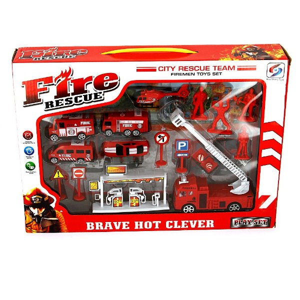 Kit Brinquedo Caminhão Bombeiro Fire Rescue