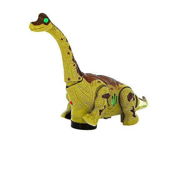 Dinossauro de Brinquedo Elétrico Bate E Volta Com Som E Luz De LED