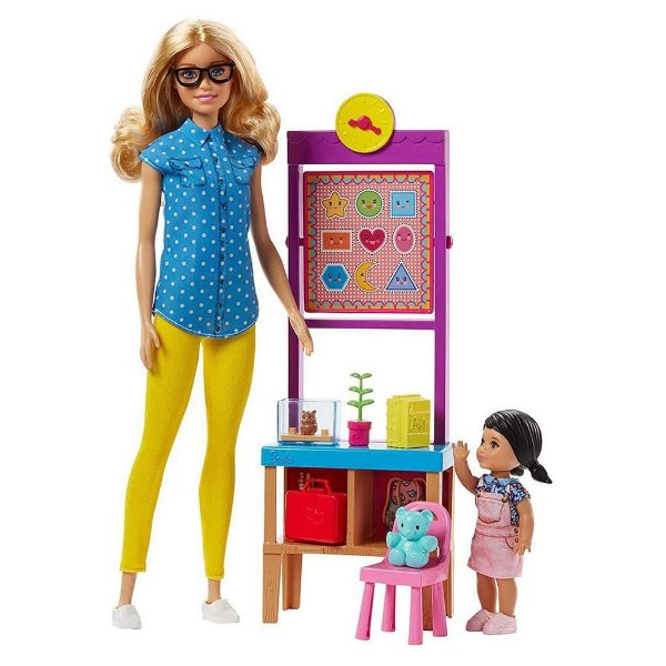 Boneca Barbie Profissão Professora Infantil com Sala de Aula e Aluna