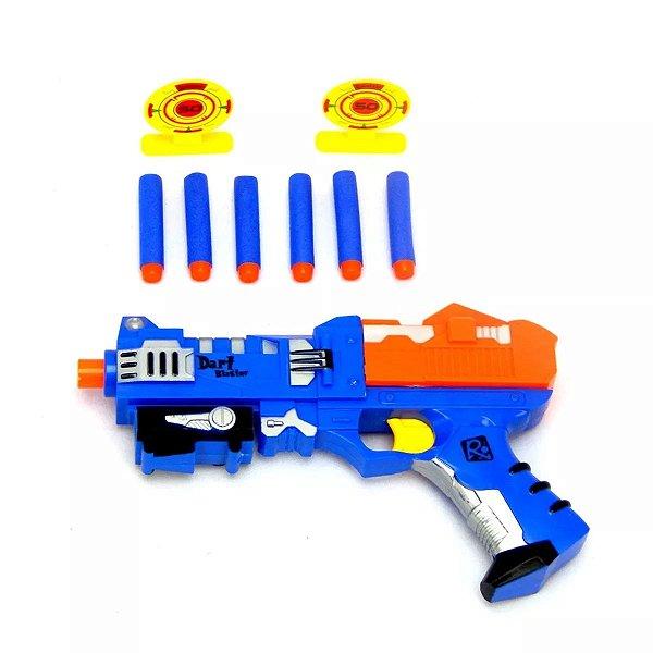 Brinquedo Infantil Pistola Lança Dardo Estilo Narf Com 6 Dardo E 2 Alvo X-power