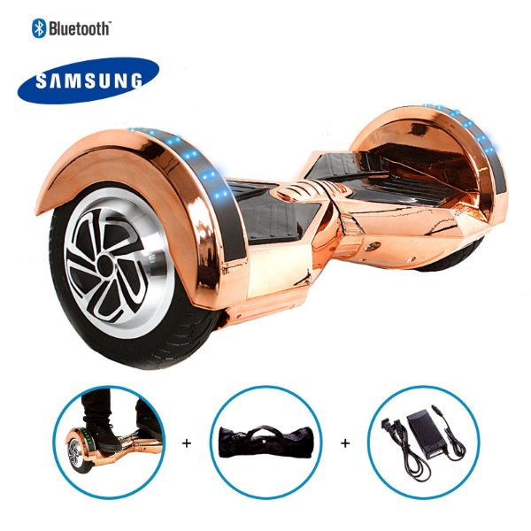 "Hoverboard 8"" Champagne Cromado Hoverboard Bateria Samsung Bluetooth Smart Balance Com Bolsa"