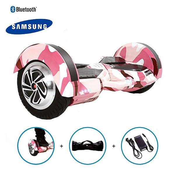 "Hoverboard 8"" Pink Millitary Hoverboard Bateria Samsung Bluetooth Smart Balance Com Bolsa"