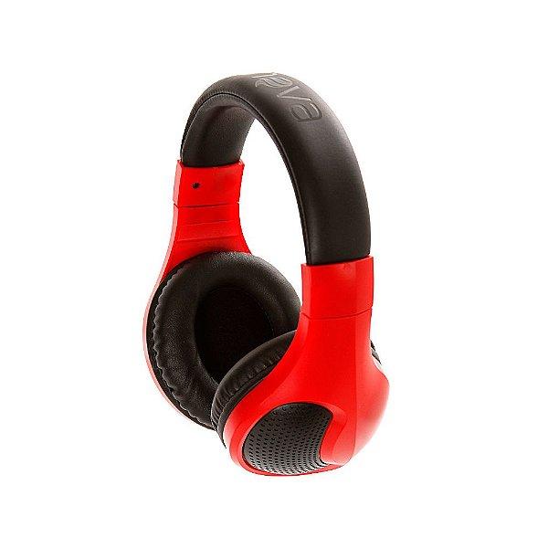 Fone De Ouvido Estéreo Sem Fio Com Microfone FON-6703 - Vermelho E Preto - Inova