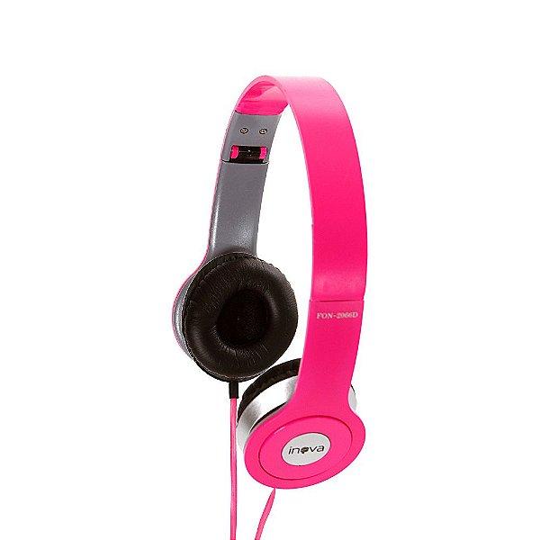 Fone De Ouvido Estéreo Com Fio E Microfone FON-2066D - Rosa - Inova