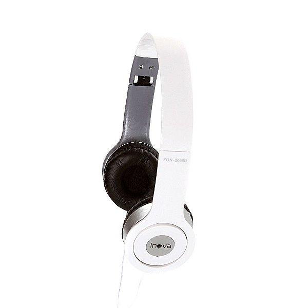 Fone De Ouvido Estéreo Com Fio E Microfone FON-2066D - Branco - Inova