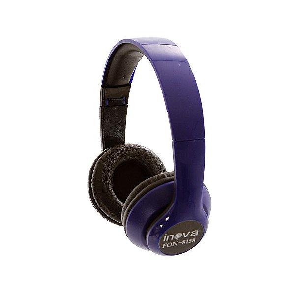 Fone De Ouvido Estéreo Bluetooth Sem Fio FON-8158 - Azul - Inova