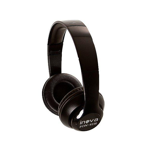 Fone De Ouvido Estéreo Bluetooth Sem Fio FON-8158 - Preto - Inova