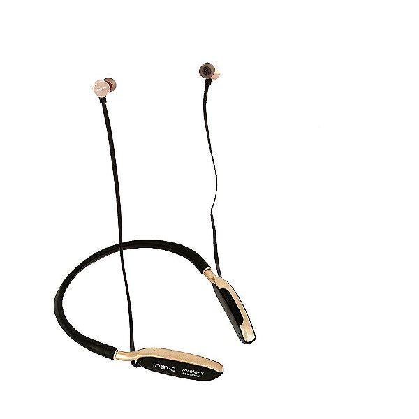 Fone De Ouvido Bluetooth De Pescoço Para Esportes Dourado FON-2091D - Inova