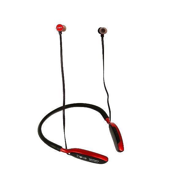 Fone De Ouvido Bluetooth De Pescoço Para Esportes Vermelha FON-2091D - Inova