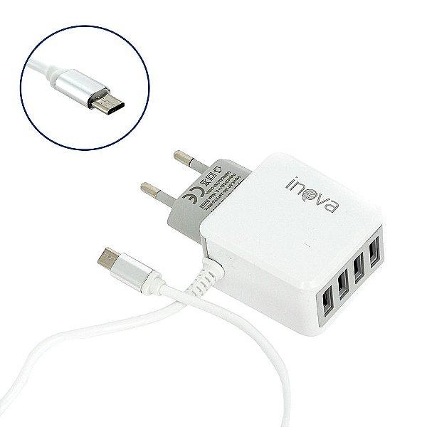 Carregador Rápido 5.1A Com 4 Saídas USB Branco CAR-2141D - Inova