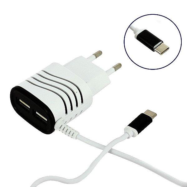 Carregador Rápido Smart 3.1A Tipo C Com 2 Saídas USB Branco E Preto CAR-2084D - Inova