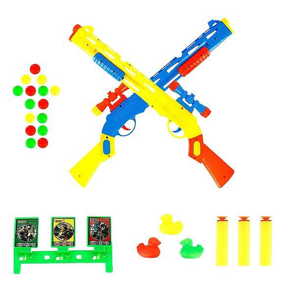 Kit 2 Arma Espingarda Com Mira Tipo Nerf Shotgun Com 12 Dardos + Alvo Brinquedo Infantil