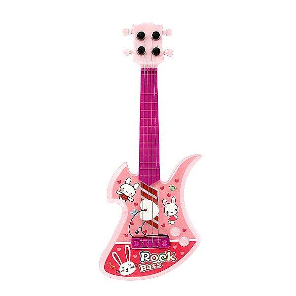 Brinquedo Guitarra Infantil Rock Bass 4 Cordas - Rosa