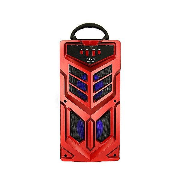 Caixa De Som Portátil Sem Fio Com Microfone - Vermelha - RAD-8168 - Inova