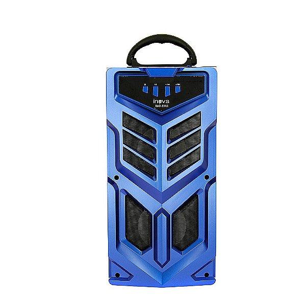 Caixa De Som Portátil Sem Fio Com Microfone - Azul - RAD-8168 - Inova