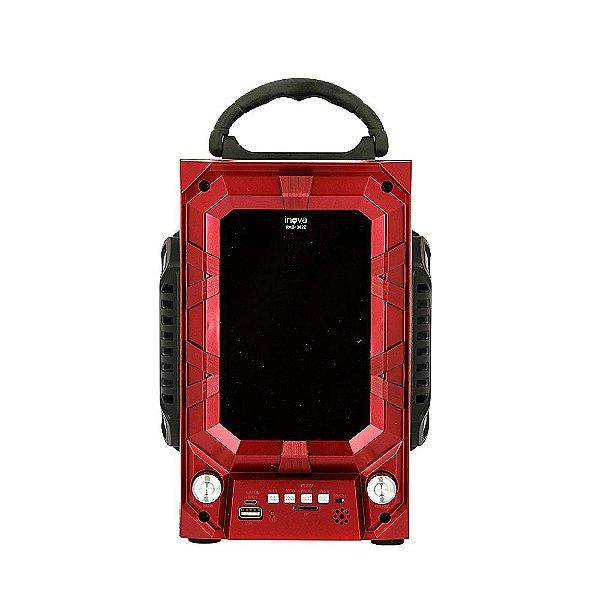 Caixa De Som Portátil Com Controle Remoto E Luz De LED - Vermelha - RAD-362Z - Inova