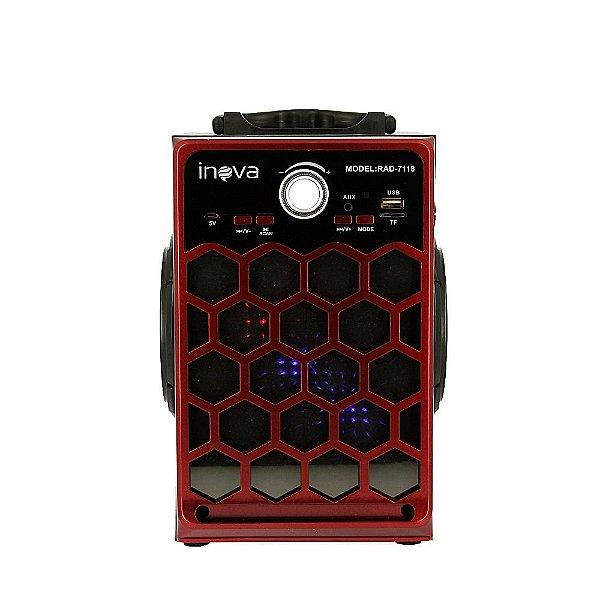 Caixa De Som Móvel Espelhada Com Bluetooth E Controle Remoto - Vermelho - RAD-8133 - Inova