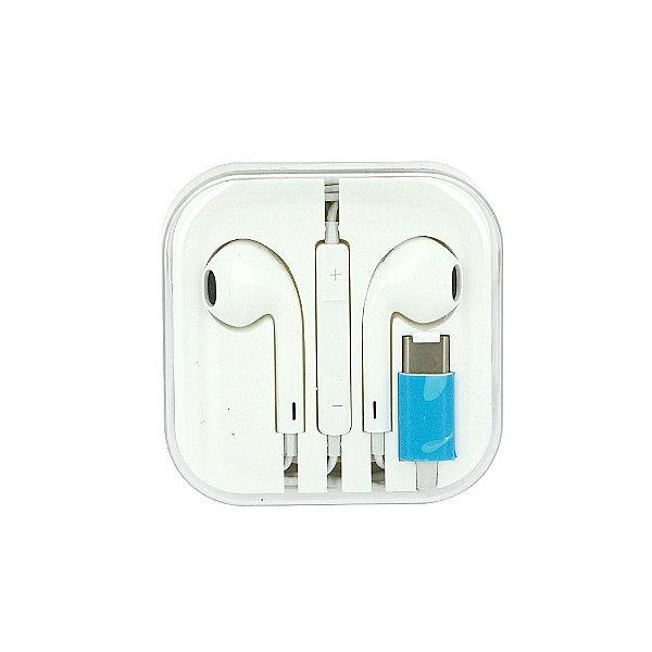 Fone De Ouvido Apple Com Fio E Bluetooth Com Entrada Tipo C De Samsung - Branco - FON-7303 - Inova