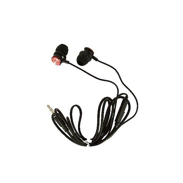 Fone De Ouvido Estéreo Cromado Vermelho E Preto FON-6704 - Inova