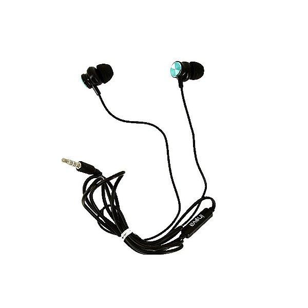Fone De Ouvido Estéreo Cromado Verde E Preto FON-6704 - Inova