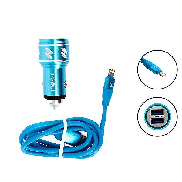 Carregador Para Carro Mega Rápido 3.4A Com 2 Entradas USB Com Cabo Tipo Iphone Azul Ciano CAR-2106D - Inova