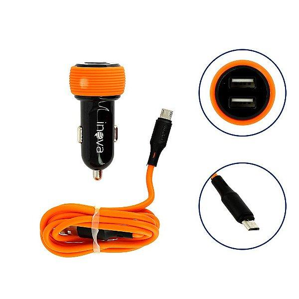 Carregador Para Carro Mega Rápido 3.4A Com 2 Entrada e Cabo Tipo V8 Micro USB  Laranja e Preto CAR-8335 - Inova