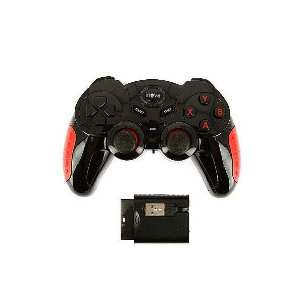 Controle 7 em 1 Bluetooth Sem Fio Gamepad Para Todos Dispositivos- Preto E Vermelho - CON-7190 - Inova