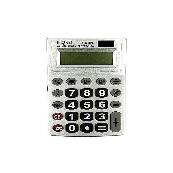 Calculadora Eletrônica Média 8 Dígitos Prata CALC-7076 - Inova