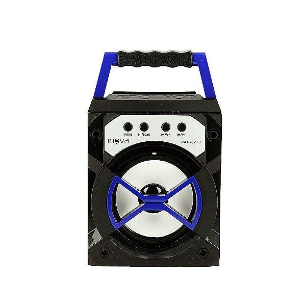 Caixa De Som Mini Móvel Com Luz De LED - Azul - RAD-8313 - Inova