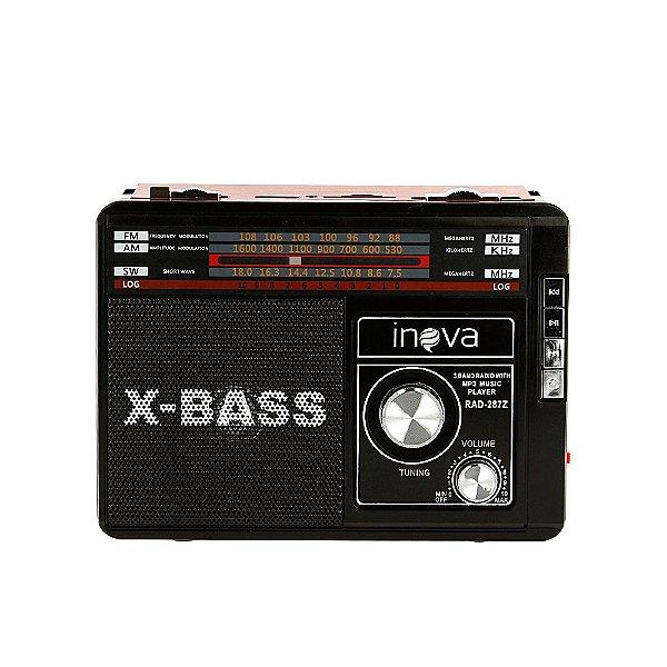 Caixa De Som X-BASS Sem Fio Com Rádio FM E AM E Lanterna - Vermelho E Preto RAD-287Z - Inova