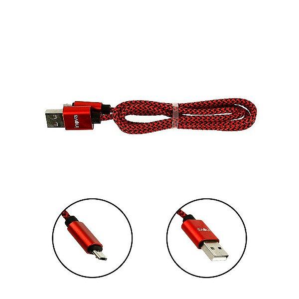 Cabo De Dados USB Super Reforçado Portátil 1 Metros Tipo V8 Micro Usb Vermelho E Preto - Inova