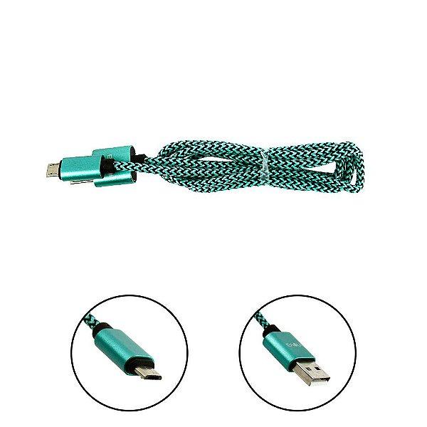 Cabo De Dados USB Super Reforçado Portátil 1 Metros Tipo V8 Micro Usb Verde E Preto - Inova