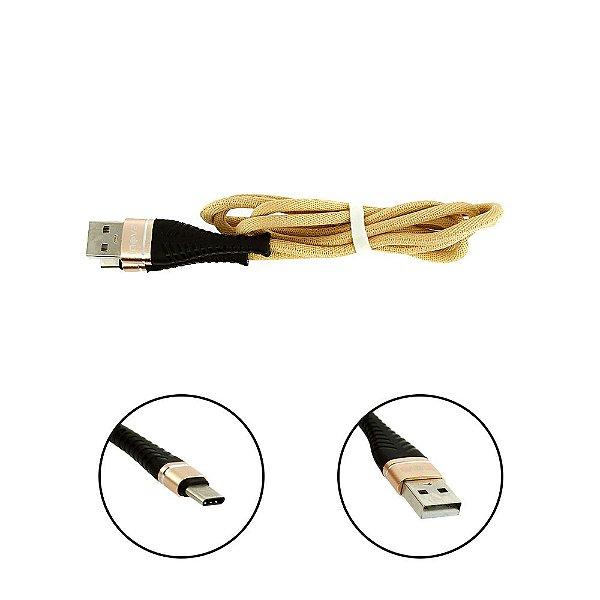 Cabo De Dados USB Super Reforçado Portátil 1 Metros Tipo C Usb Dourado - Inova
