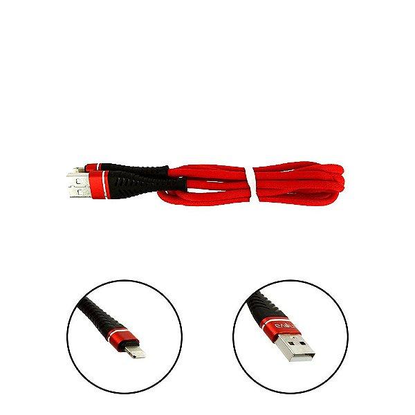 Cabo De Dados USB Super Reforçado Portátil 1 Metros Tipo Lightning De Iphone Apple Usb Vermelho - Inova
