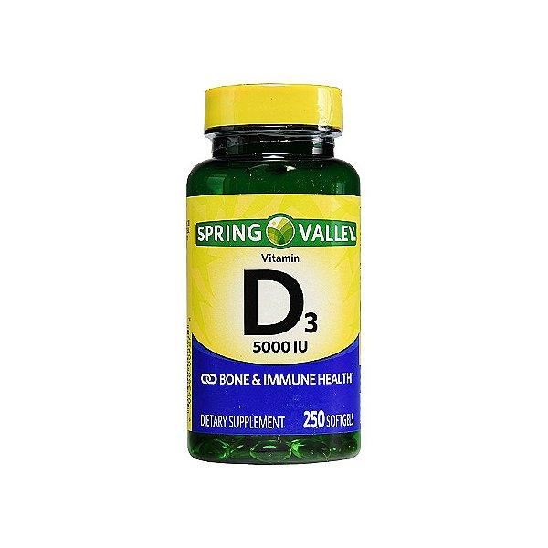 Vitamina D3 125mg 5000IU 250 Cápsula Em Gel