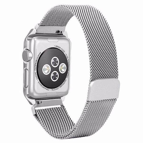 Pulseira Milanese Magnética Bumper Para Apple Watch 38mm - Prata